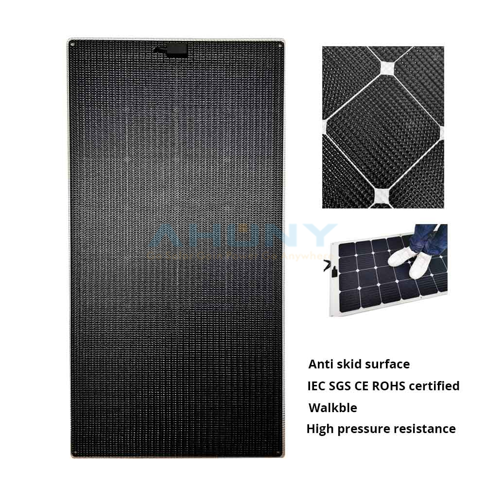 eMarvel 110w walkable anti skid thin light semi rigid flexible solar panel for boat yacht marine SGS IEC CE ROHS double 85 test certified